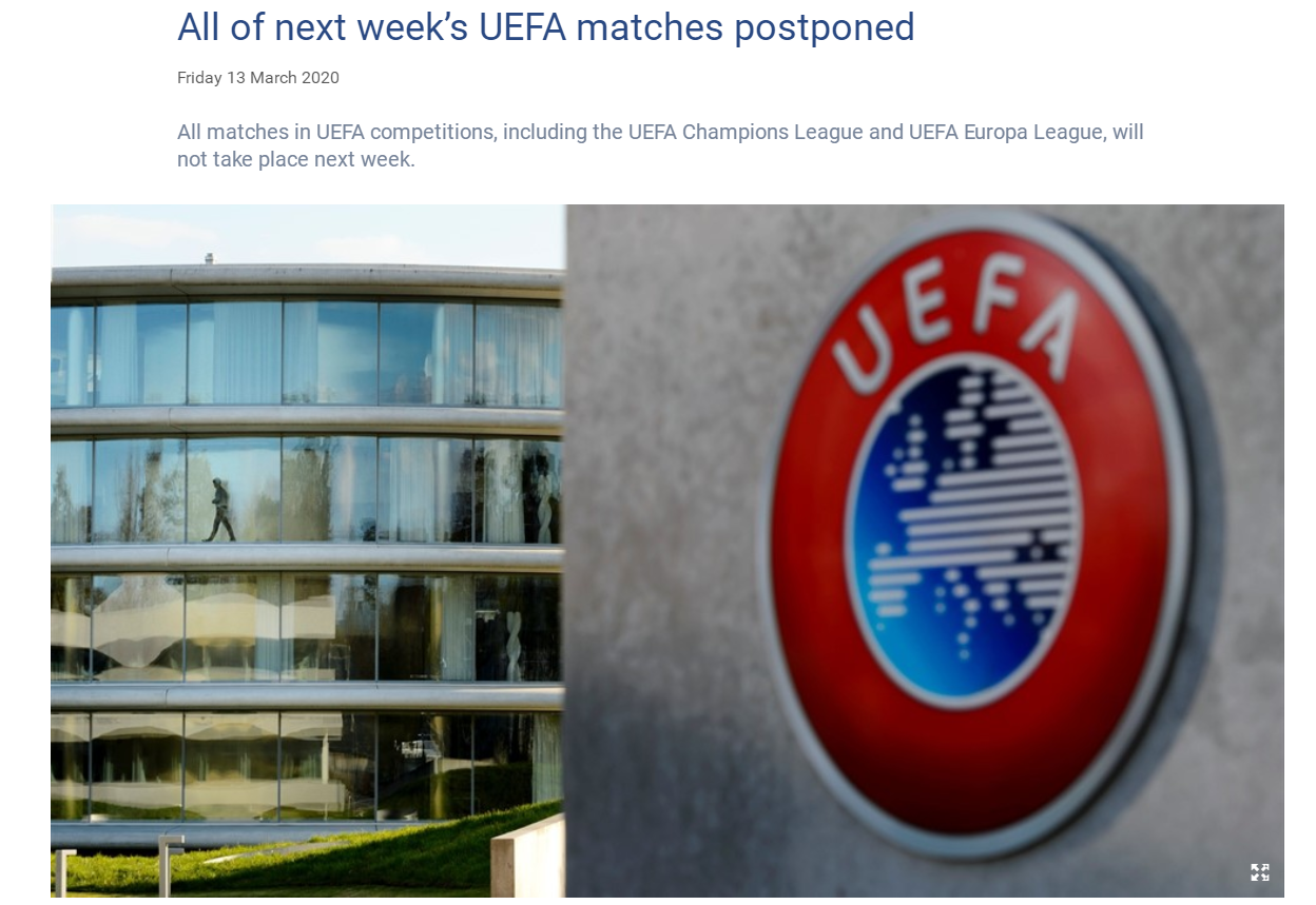 欧足联:下周欧冠欧联全部延期 抽签仪式同样推迟