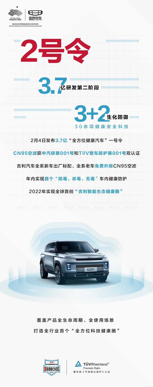 """吉利汽车发布2号令 3.7亿""""全方位健康汽车""""进入第二阶段"""
