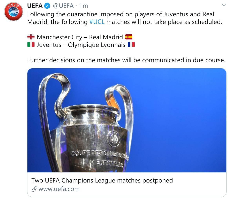 官方:曼城VS皇马与尤文VS里昂两场欧冠推迟