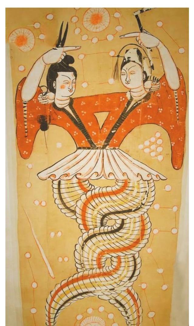 """原创            寻根溯源,我国出土的传统古画中伏羲和女蜗""""人首蛇身""""缠绕在一起是为何?"""