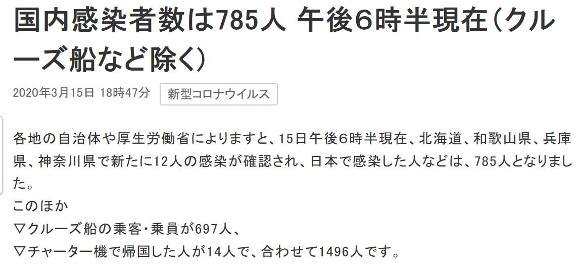 日本国内确诊新冠肺炎病例785例