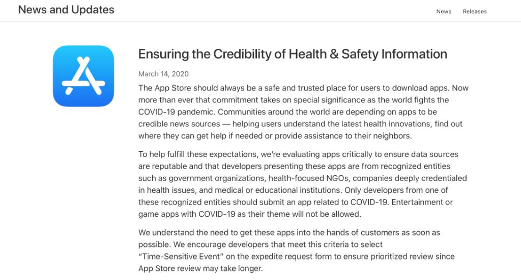 苹果公布全新应用商店审查机制不允许娱乐游戏App以疫情为主题