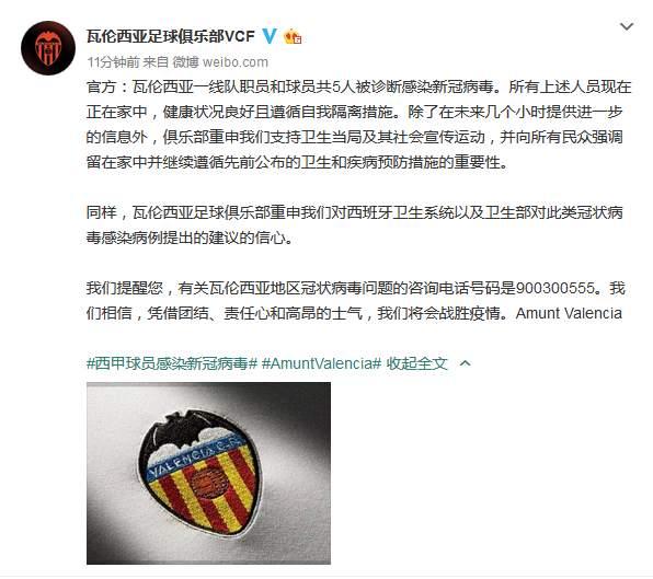 西甲瓦伦西亚宣布一线队5人确诊,4天前刚踢完欧冠