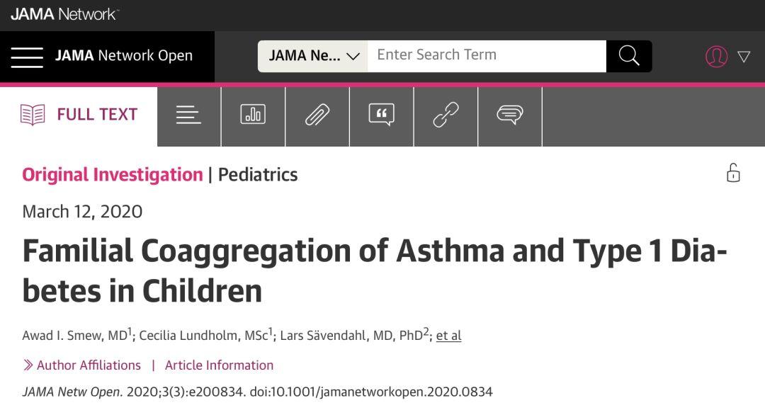 【JAMA子刊】128万多名儿童研究的大数据证实:哮喘儿童更易患1型糖尿病