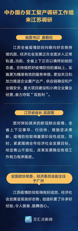 中办国办来江苏评价复工复产:创造积累了好经验