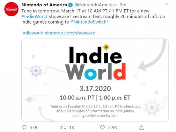"""任天堂独立游戏介绍会""""IndieWorld""""举办时间发布_官方"""