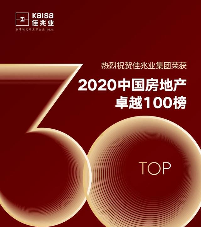 2020中国房地产卓越100榜揭晓佳兆业集团位列行业30强