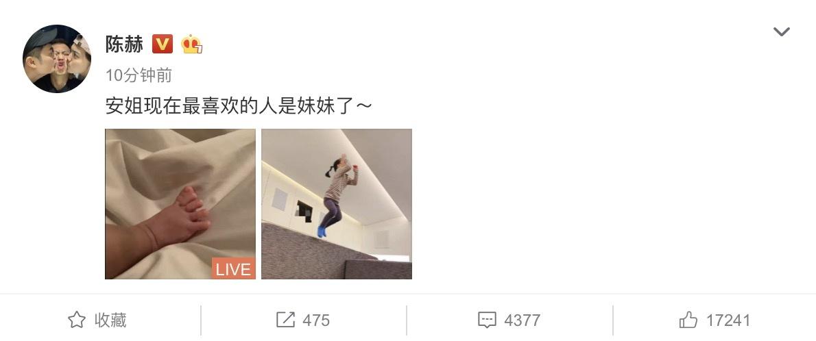 陈赫发文宣布二胎得女:安姐现在最喜欢的是妹妹_女儿
