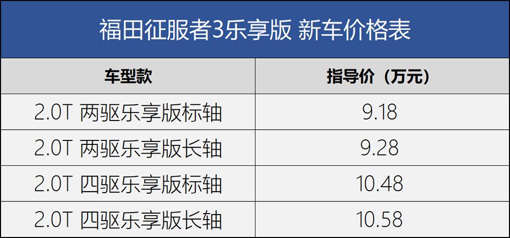 福田征服者3上市价格918-1058万元