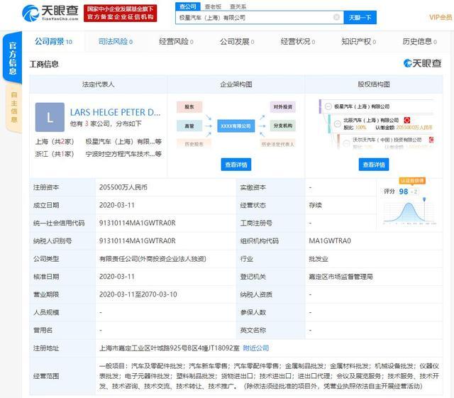 极星汽车成立新公司 注册资金20.55亿/落户上海嘉定