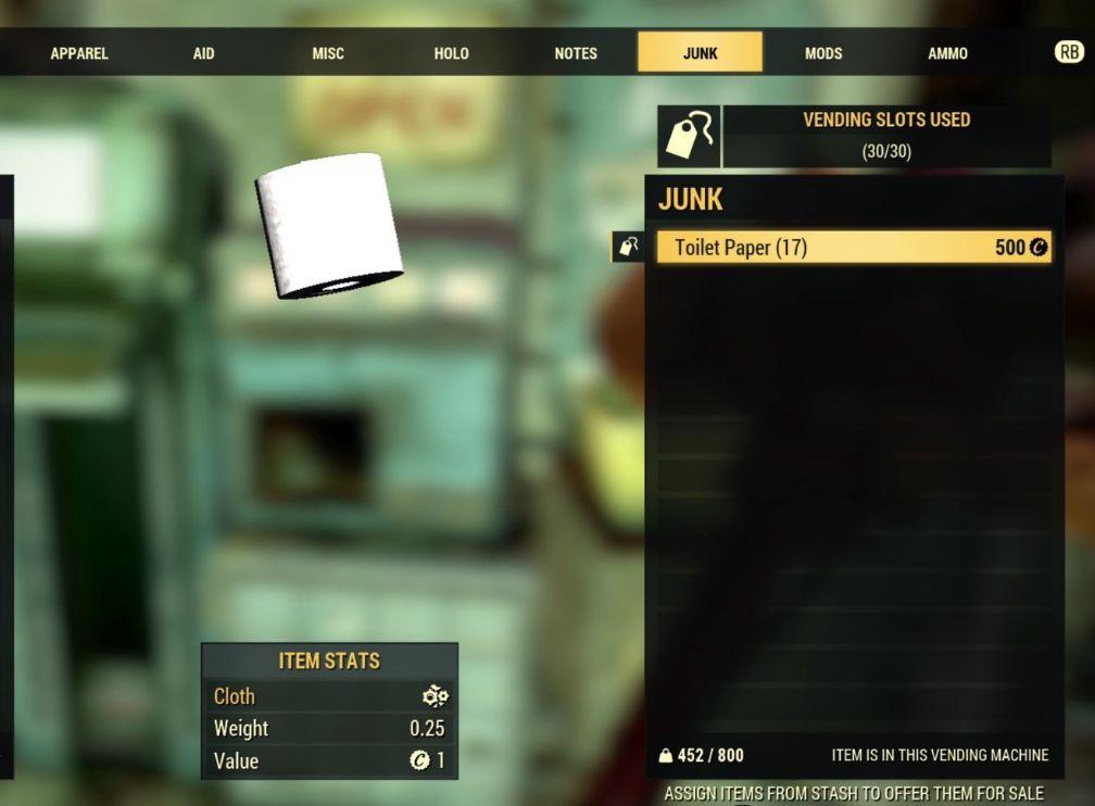 《辐射76》玩家们开始囤积天价卫生纸_瓶盖