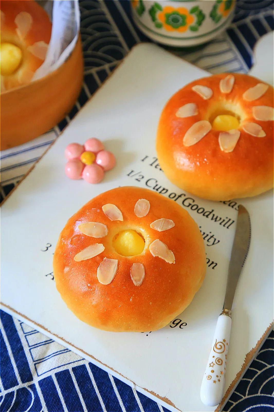 「整形」很有意思的整形和灌馅方法!,香浓美味的特浓卡仕达面包