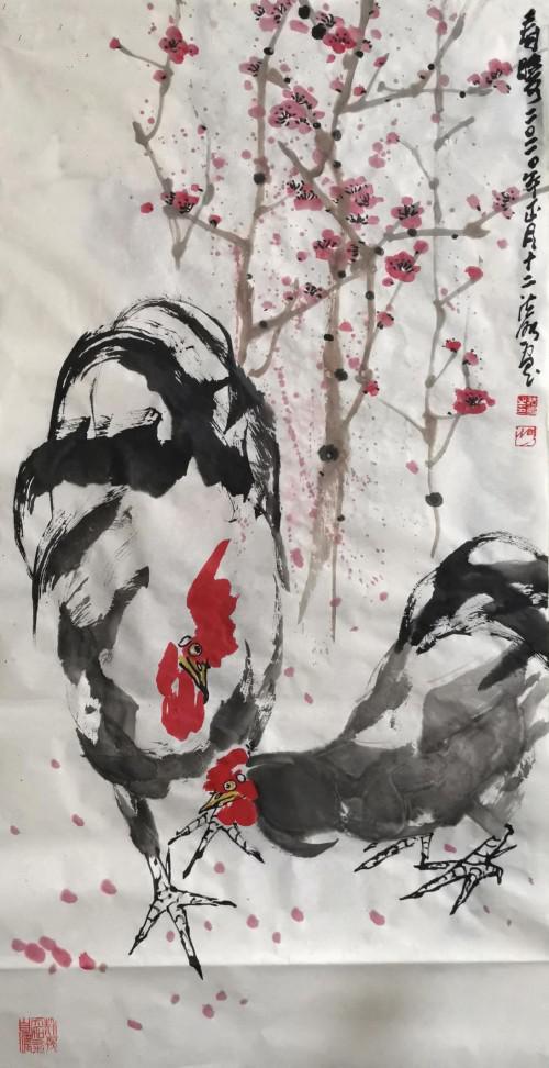 朱法鹏--海鹤腾与雄鸡鸣