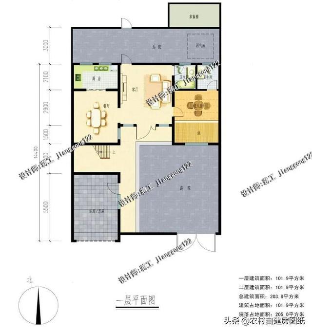 5款30万的农村房屋设计图,3款带庭院2款带火炕,北方人
