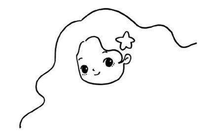 儿童简笔画小公主教程   第二步 在画好的面部下方延伸线条画出美人鱼的脖子以及展开的手臂及身体,注意小美人鱼是女生,需要在胸口画两个贝壳,一直画到腰部的位置就可以延伸线条画出一条漂亮的鱼尾了   儿童简笔画小公主教程   儿童简笔画小公主教程   第一步