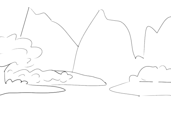 山水风景画步骤3   山水风景画步骤4   山水风景画步骤5   山水风景画的简笔画步骤画法教程   山水风景画步骤1   山水风景画步骤2