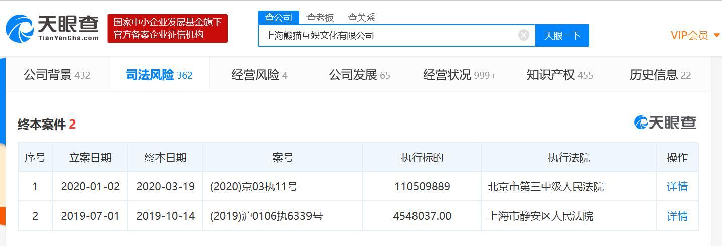 熊猫互娱1.1亿被执行人已成终本案件