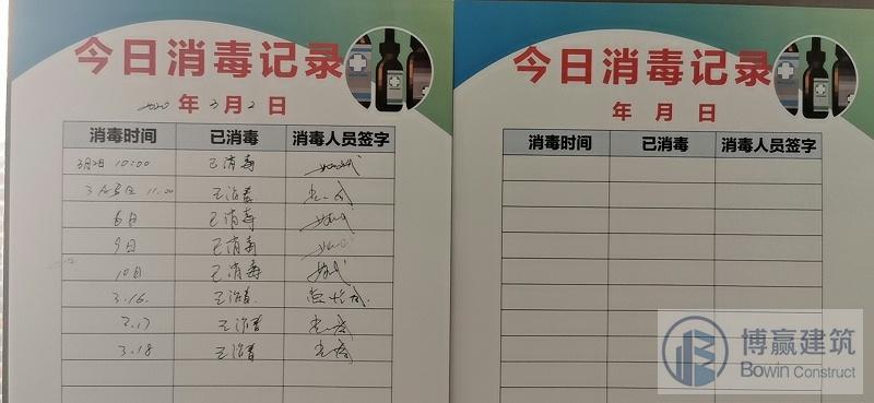 办公场所消毒登记表