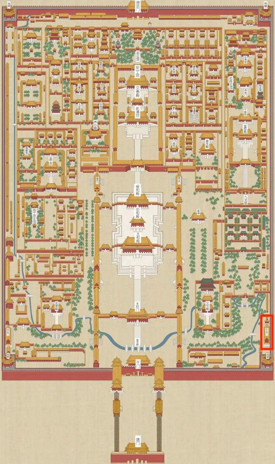 故宫平面图,红圈处为东华门(来源:故宫博物院官网)