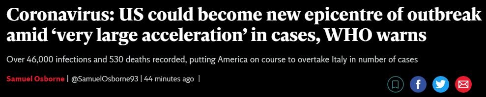世卫组织:美国可能成为新的疫情中心