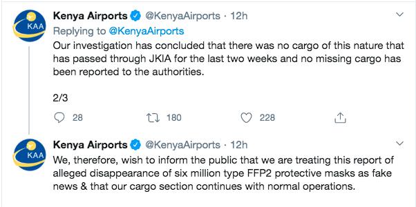 德国称600万个口罩在肯尼亚机场丢失,肯方予以否认