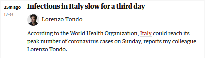 快讯!外媒:世卫官员称意大利可能将在本周迎来疫情高峰