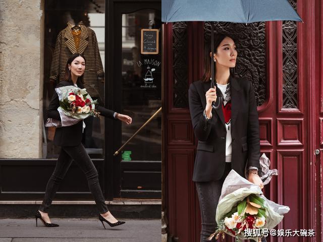 被李亚男街拍照惊艳到了,穿西装又美又飒,手捧鲜花尽显浪漫气息