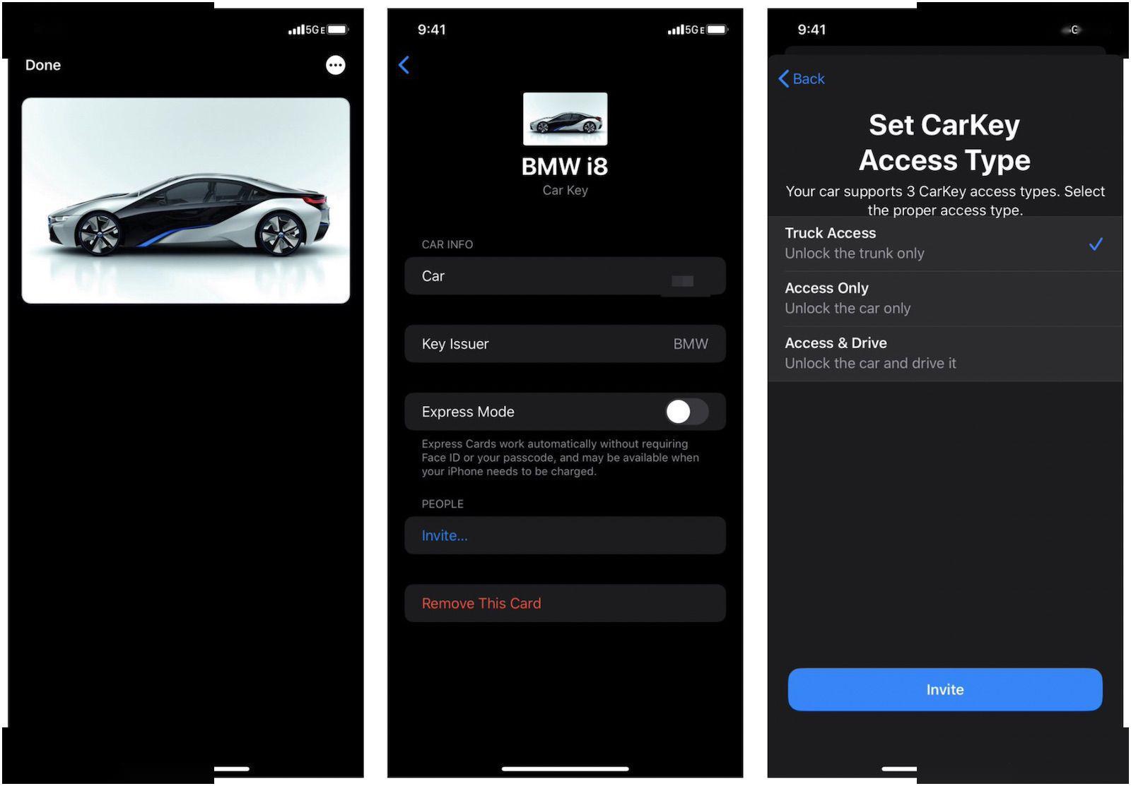 CarKey界面截图曝光:很快就可以用iPhone锁车了