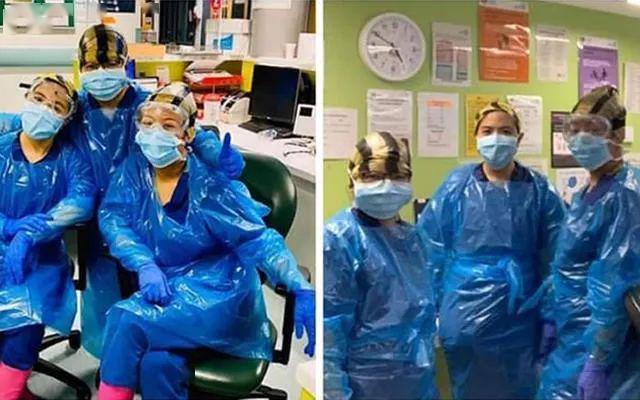 纽约医护人员用垃圾袋当防护服