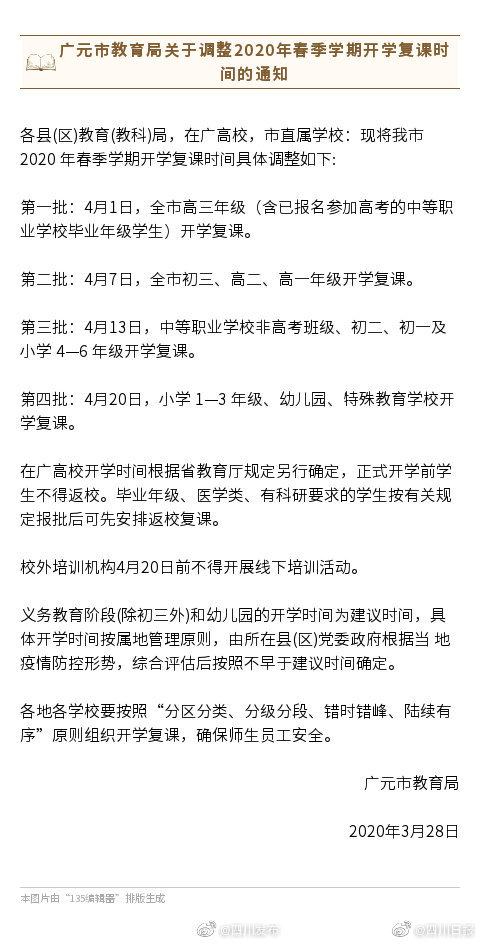 四川广元调整开学时间 小学1-3 年级、幼儿园不早于4月20日复课