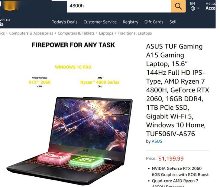 华硕新款TUF游戏本美亚上架:R74800H+RTX2060,约8500元