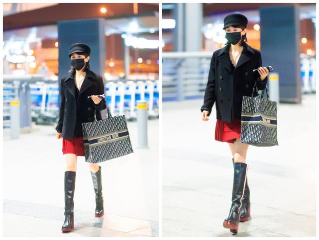 『装配』身穿一套红装配长靴,美得出众气质又好!,王子文打扮高调