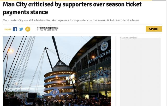 原创             越有钱越抠门,曼城一举动引来球迷声讨,没比赛看还要扣钱