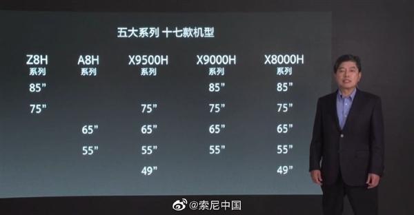 5大系列、17款!索尼公布电视全家桶:最便宜75寸4K电视9999元