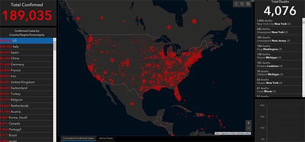 美国新冠肺炎确诊病例增至189035例,死亡超4000例