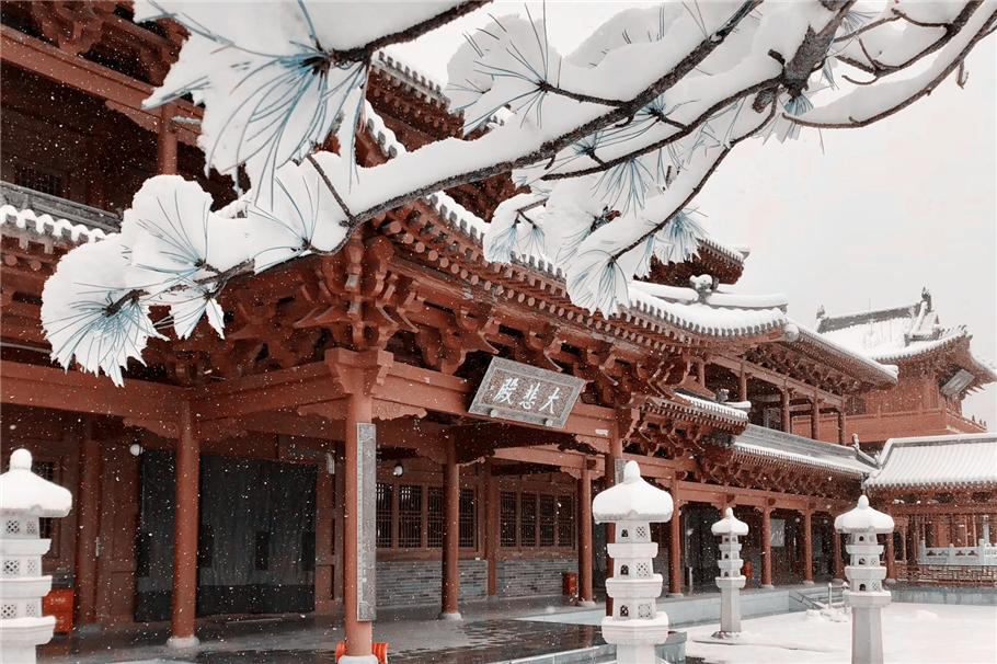 原创             四月五台山迎来降雪,是文殊示喜,雪花漫天飞舞,圣洁的佛国净土