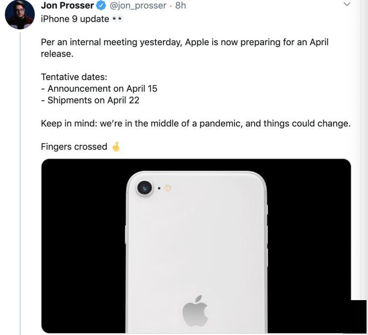 传苹果拟4月15日发布iPhone 9,4月22日开始发货