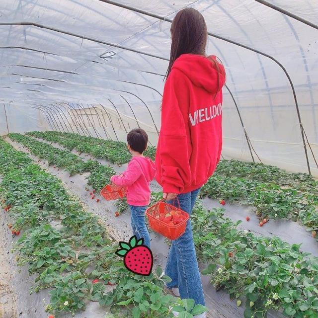 baby晒母子共摘草莓照,穿亲子装漫步大棚温馨有爱