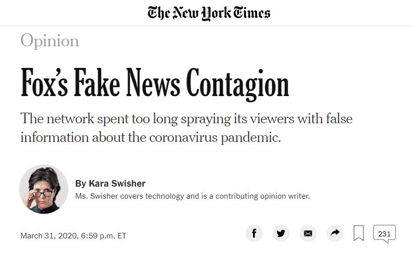 《纽约时报》炮轰福克斯:发假新闻误导公众