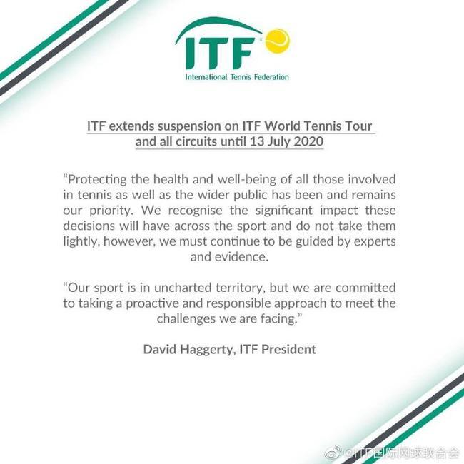 受新冠疫情影响 国际网联暂停所有ITF赛事至7月13日