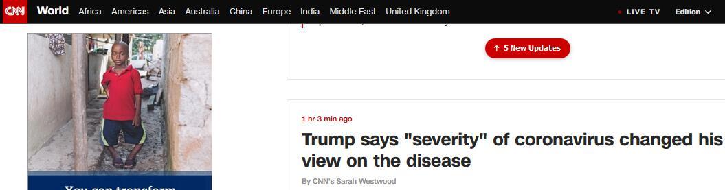 """美媒:特朗普""""松口""""称新冠病毒严重性让他改变看法"""