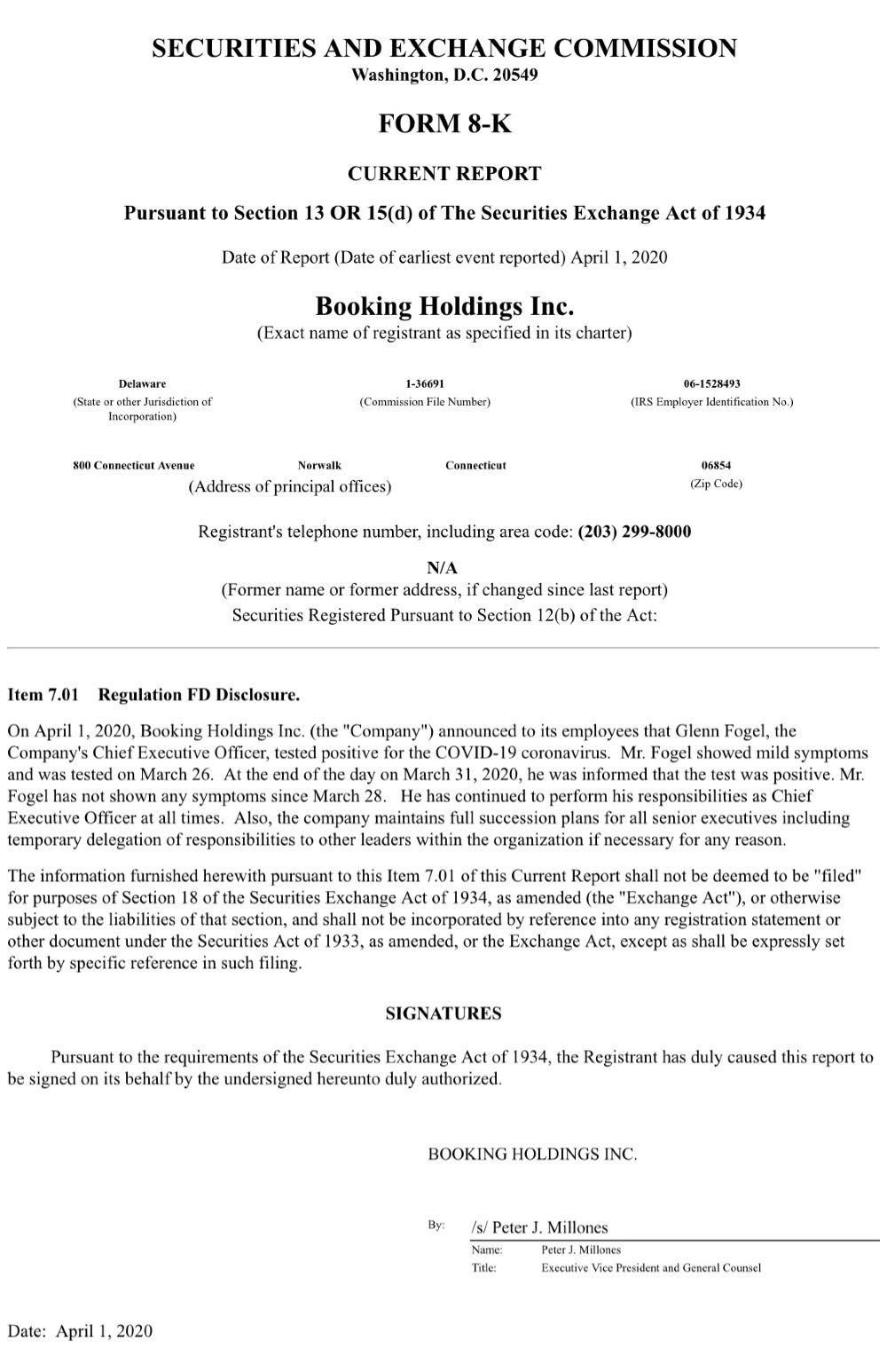 Booking CEO新冠病毒检测呈阳性