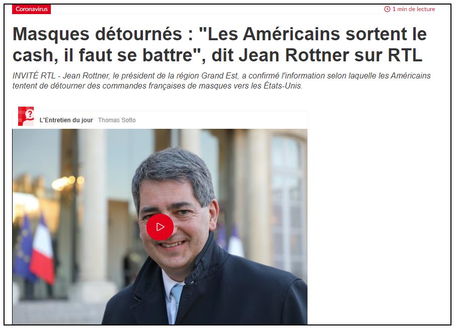 法高官爆料:美国人在中国高价抢走法国订购口罩,美媒沉默