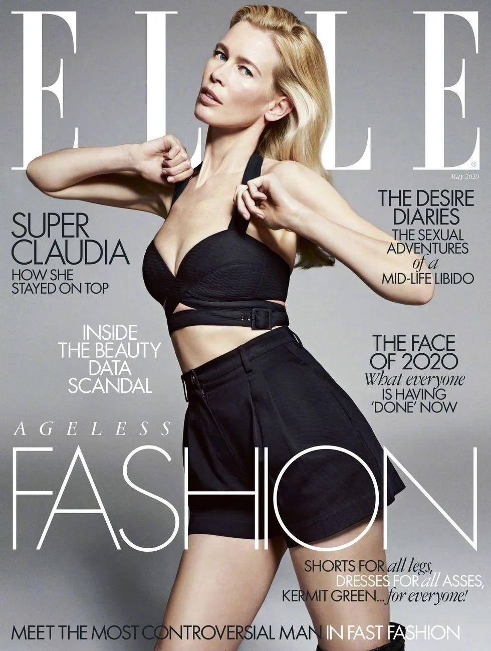 顶级超模Claudia Schiffer登ELLE封面 49岁的雪花风采依旧