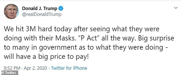 """特朗普警告3M""""将付出巨大代价"""",N95口罩竟然只高价卖外国"""