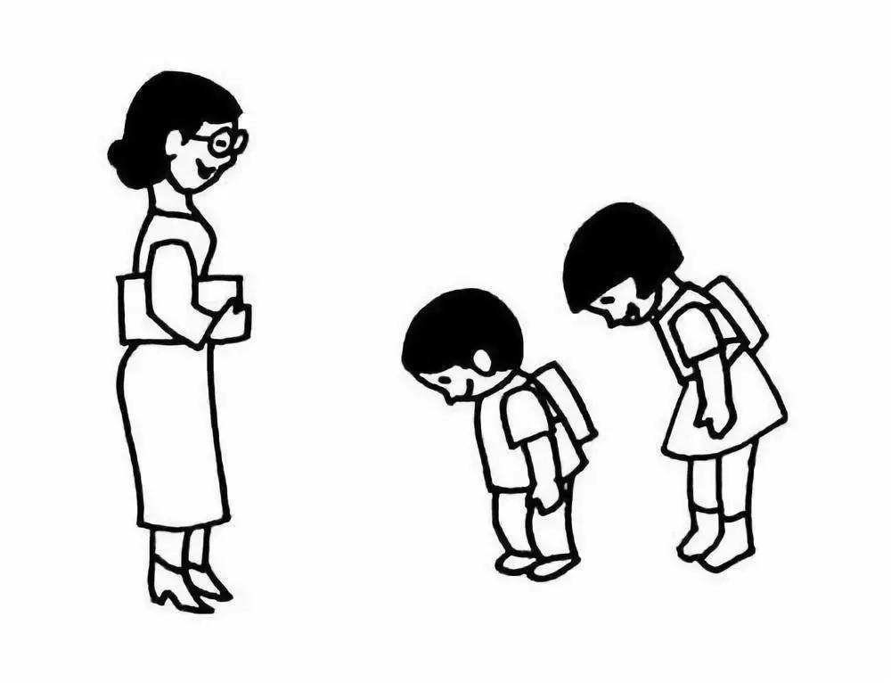 给老师鞠躬的学生简笔画图片 鞠躬的学生怎么画