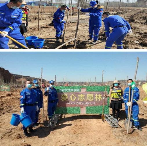 绿化国土 建设国家森林——寿阳蓝天救援队参加神武村植树活动