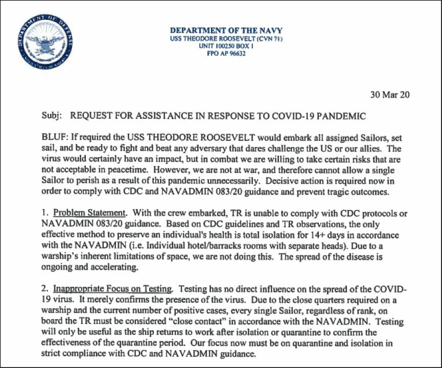 """美国""""罗斯福""""号舰长遭解职细节曝光,背后或有更深层的原因"""