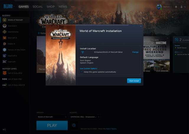 魔兽世界:战网客户端目前已经更新支持9.0beta
