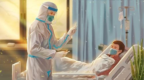 英国新冠ICU病房画面 医护人员没有护目镜只能穿一次性罩衣围裙